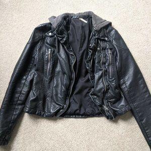 Free People RARE black vegan leather jacket